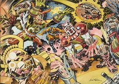 "Jack Kirby Pro Magazine ""Out of Mind's Reach"" Illustration Original Art (NFL, First and ten, - Available at 2009 February Signature Comics. Comic Book Artists, Comic Books Art, Comic Art, Jack Kirby Art, Jack King, New Gods, Chef D Oeuvre, Original Art, Cartoon"