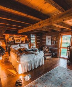 with chic living cabins ottoman wood best on bedrooms decorating design cabin cottage wind trimmed and bedroom ideas room tufted bedding rustic