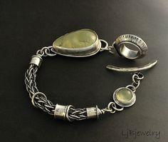 LjBjewelry | One-of-a-kind sterling silver bracelet with two prehnite cabochons (3.5 cm & 1.2 cm). The woven part of the bracelet was made using a technique called loop in loop.