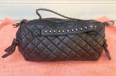 Black Studded Quilted Faux Leather Purse Handbag Shoulder Bag Crossbody Strap #Unbranded #ShoulderBag