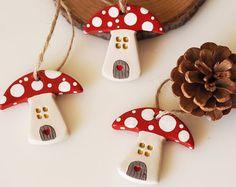 Set of 3 Mushroom house ornaments - Mushroom Christmas decorations - Woodland Christmas decor - Small fairy house - Clay mushroom decoration