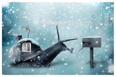 Snail ~~ winter snail mail. .print to make envelope