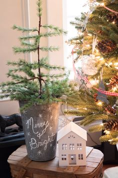 10 Minute Chalkboard Maple Bucket Christmas Tree