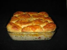 family classic creamy chicken and biscuits. http://www.food.com/recipe/potsies-creamed-chicken-and-biscuits-casserole-110047