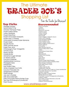 THE ULTIMATE TRADER JOE'S SHOPPING LIST ~ After polling the Facebook gals about their favorite Trader Joe's products, we decided an official grocery list was in order!  I'm so excited to try some of their suggestions!! ~ Or so she says...