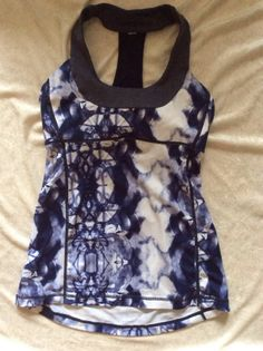 Lululemon 6 Inkblot Scoop Neck Tank Fitness Yoga Run blue batik #Lululemon #ShirtsTops