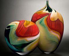 Art glass vases by Peter Layton. Glass Ceramic, Mosaic Glass, Ceramic Pottery, Fused Glass, Art Of Glass, Blown Glass Art, Glass Vase, Cut Glass, Vase Deco