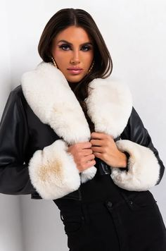 Moto Jacket, Leather Jacket, Patent Leather Boots, Strapless Mini Dress, Fox Fur Coat, Going Out Outfits, Jacket Brands, Leather Mini Skirts, Fur Trim