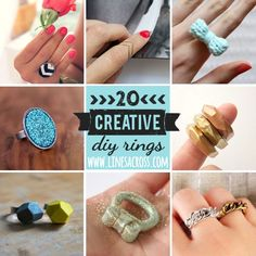 """Lines Across"": 20 Beautiful DIY Rings *This site has the best DIY rings and other neat stuff, you have got to check it out!*"