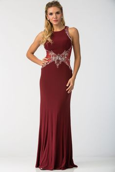 LONG PROM GOWN FT40126.  Full Length, Sheath Shape Prom and Evening Dress with Sparkling Beading Embellished, Sleeveless Bodice featuring Semi Sheer Side Panels. Dress also has Jewel Neckline and Floor Length Skirt with Gathered Hem.  https://www.dresstopic.com/prom-dresses/long-prom-gown-ft40126