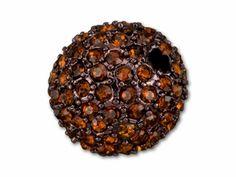 14mm Beadelle Chocolate Glaze - Smoked Topaz Round Pavé Bead