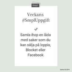 @smplsweden posted to Instagram: Veckans #SmplUppgift.   #Smpl #Organiseradenkelhet #SmplUppgift #Ordningochreda #Rensa #skapaordning #hus #hushåll #hem #Hållbarvardag #enkelhet #förvaring #hälsa #ordninghemma #sälja #loppis Cards Against Humanity, Instagram, Pictures