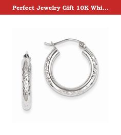 Perfect Jewelry Gift 10K White Gold Diamond Cut 3mm Hoop Earrings. 10K White Gold Diamond Cut 3mm Hoop Earrings Polished - Hinged post - 10K White gold - Diamond Cut Size: 0 Length: 21 Weight: 1.50 Jewelry item comes with a FREE gift box. Re-sized or altered items are not subject for a return. 10K White Gold Diamond Cut 3mm Hoop Earrings Product Type:Jewelry Jewelry Type:Earrings Material: Primary:Gold Material: Primary - Color:White Material: Primary - Purity:10K Length:21 mm Width:20 mm...