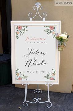 Wedding Welcome Sign / Rustic White Floral Vintage Welcome Sign / Wedding Sign Easel / Calligraphy Wedding Sign Customised Printable WED010