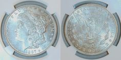 Description: Silver 1887 mint state uncirculated Morgan Dollar from the Philadelphia Mint. The coin is graded by the Numismatic Guaranty Corporation (NGC) as being Mint State 63 and is encapsulated in