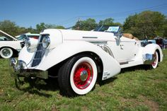 This 1936 Auburn Boattail owned by Ralph Scancarelli of Northport has impeccable white paint to match the replica custom interior.
