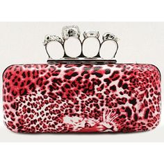 Red Faux Leather Animal Print Skull Punk Emo Evening Clutch Purse Wallet  SKU-1110629