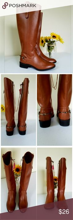 "NWT. Boots NWT. Color Cognac/Perry. Side zipper. Back detailing. Stretch panel at top inside of boot. Has small scuff mark at top of boot by zipper last photo. Small heel. Lightly padded sole. Faux Leather & rubber sole.  Measurement Size 6 Medium Width Heel 1""  Height 15""  Circumference of boot 15"" (but has small stretch panel at top)  Circumference at ankle 11""   Get an additional 30% off when purchasing 3 or more items using the bundle feature. Sam & Libby Shoes"