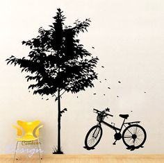 48inch H tree bicycleRemovable Graphic Art wall decals by ccnever, $64.95