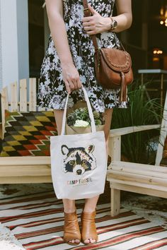 The Emi Saddle Bag and an adorable racoon tote were some of the ​favorite accessories from the Camp Fossil event.
