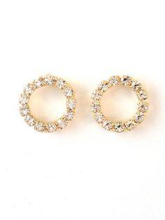 Swarovski Crystal Sparkle Small Hoop Gold Post Earrings
