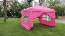 New 10x10 FT Ez Pop Up Canopy Party Tent Gazebo W/4 Side Walls - Pink