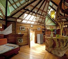 The Tree House Lodge is located on the southern Caribbean coast of Costa Rica​. The tree houses sit beneath the tropical, jungle canopy, but are never far from the beach—and they offer accommodations right on the beach, as well. With airy canopies and wooden interiors, these little lodges will make you feel like you're living in the movie Swiss Family Robinson.