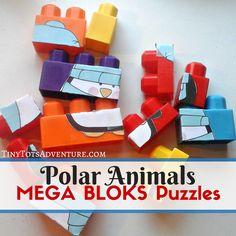 An easy to assemble polar animals puzzle using Mega Bloks.