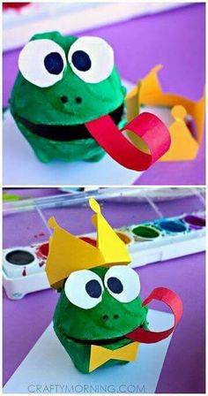 Kid's Craft: Egg carton frog and frog prince! Kid's Craft: Egg carton frog and frog prince! Pin: 358 x 680 Kids Crafts, Frog Crafts, Daycare Crafts, Summer Crafts, Toddler Crafts, Preschool Crafts, Projects For Kids, Dragon Crafts, Egg Carton Art