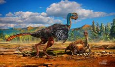 Avimimus lived in the Upper Cretaceous in what is now Mongolia, approximately 70 million years ago. This artist's rendering shows a pair of nesting bird-like dinosaurs. Image credit: Chuang Zhao.