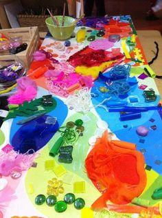 "Colour collage work at Acorn School ("",)"