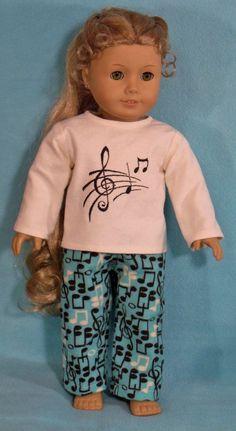 18 inch  Doll Musical Notes Pajamas