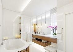 Projekt wnętrz apartamentu w stylu kalifornijskim w Warszawie - Tissu Alcove, Bathtub, Bathroom, House, Design, Ideas, Fabric, Standing Bath, Bath Room