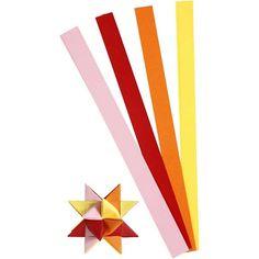 Papieren stroken gekleurd 100 stuks. Dubbelzijdig bedrukte papieren vlechtstroken voor bijvoorbeeld het maken van sterren. Inclusief instructie voor het maken van een ster. Pak met 4 kleuren in de rood, roze, oranje en geel van elk 25 stuks. Afmeting ongeveer 15 mm x 45 cm.