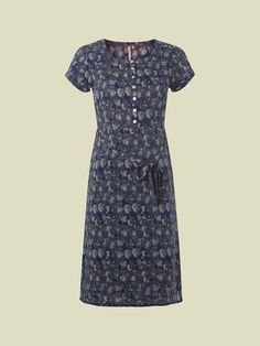 Our Spero dress is based on our best-selling shape. Lightweight and easy to wear the soft drapey woven fabric falls in a relaxed fit. Featuring a tie at the waist cap sleeves and pretty shell buttons. Navy Cap, Long Midi Dress, Leaf Prints, Cap Sleeves, Blue Grey, White Dress, Short Sleeve Dresses, Tunic, White Stuff