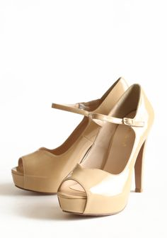"""All For You Beige Heels 68.99 at shopruche.com. These beige patent leatherette platform heels boast a charming peep toe and an elasticized ankle strap for the perfect fit.  All man made materials, Slightly padded footbed, 4.5"""" heel"""
