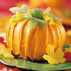 ~ Pumpkin Cake w/ Gumdrop Leaves ~