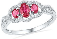 Share & Earn earn Bonus reward points toward fine jewelry 10kt White Gold W... Check it out here! http://shirindiamond.net/products/10kt-white-gold-womens-oval-lab-created-ruby-3-stone-diamond-frame-ring-7-8-cttw-100112?utm_campaign=social_autopilot&utm_source=pin&utm_medium=pin