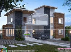 2650 square feet contemporary box model, 4 bedroom house architecture plan by San Builders, Cochin, Kerala. Simple House Design, House Front Design, Modern House Design, Free House Plans, Modern House Plans, Style At Home, House Elevation, Building Elevation, Indian House Plans