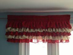 Curtains- Burlap Valance- Ruffled Burlap Curtains- Burlap Curtain- Customize your Colors and Size