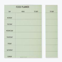 Weekly Food Planner fra Design Letters'Hvad skal vi have til middag?' er et dagligt spørgsmål og en udfordring i familiens travle hverdag. Men det hele bliver altså lidt nemmere, når vi organiserer ugens opgaver, og opretholder det helt kølige overblik. Løsningen er den praktiske Food Planner - ugens menu vælges, og nedskrives på den fine oversigtsblok, hvor du i højre side kan tilføje de nødvendige indkøb for dagens menu. Hvert ark er perforeret, så indkøbslisten nemt kan rykkes af, ...