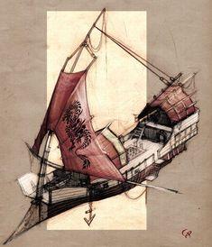 Fantasy Rpg, Fantasy Artwork, Fantasy World, Steampunk Ship, Arte Steampunk, Flying Ship, Flying Boat, Image Pinterest, Fantasy Setting