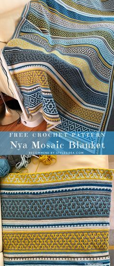Nya Mosaic Blanket Free Crochet Pattern #crochetfreepatternforbaby #crochetfreepatternforblanket #crochetbabyblanket #crochetbabyblanket