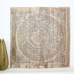 "36"" X 36"" $240, larger one available too. Found it at Wayfair - Lotus Square Panel in Recylced Teak Wall Décor"