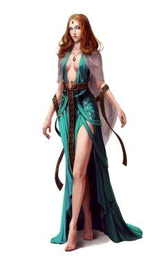 Human Female Sorcerer - Pathfinder PFRPG DND D&D d20 fantasy