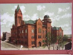 Central High School, 1909 postcard.  Originally first home of Northeast High School, Kansas City, Missouri. Opened in 1867, this was the first public school west of the Mississippi River.
