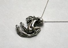 "Solid Sterling silver hand carved Nude Mermaid lady woman slide Pendant  18"" necklace handmade fantasy sculpture jewelry"