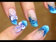 3D bow Nail Art on blue marble effect nails VIDEO TUTORIAL