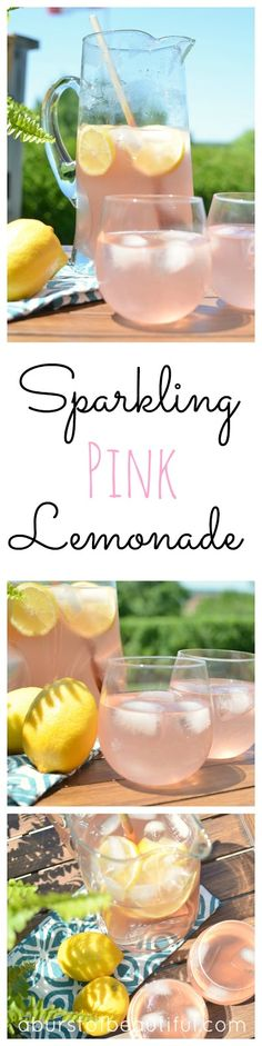 Sparkling Pink Lemonade A quick and refreshing recipe for a delicious summer drink - pink sparkling lemonade Pink Lemonade Recipes, Pineapple Lemonade, Blueberry Lemonade, Pink Lemonade Punch, Easy Lemonade Recipe, Party Drinks, Cocktail Drinks, Fun Drinks, Yummy Drinks