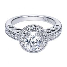 1.40cttw Bead Set Round Diamond Halo Engagement Ring